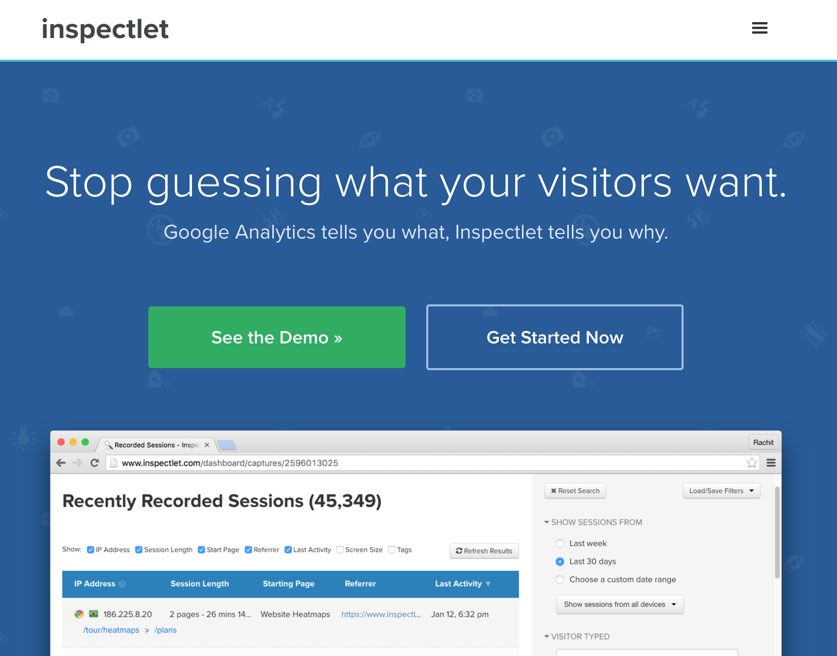 Inspectlet for Conversion Rate Optimization